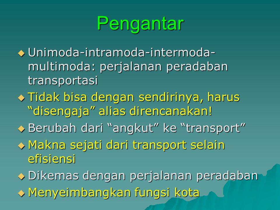 Pengantar Unimoda-intramoda-intermoda-multimoda: perjalanan peradaban transportasi.