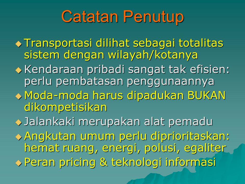 Catatan Penutup Transportasi dilihat sebagai totalitas sistem dengan wilayah/kotanya.