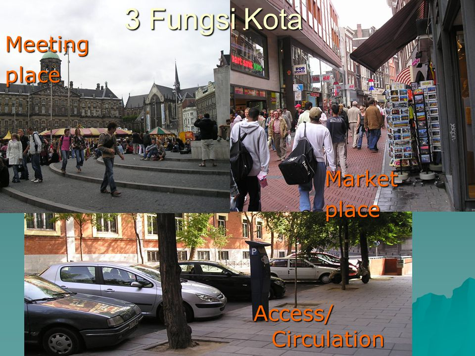 3 Fungsi Kota Meeting place Market place Access/ Circulation