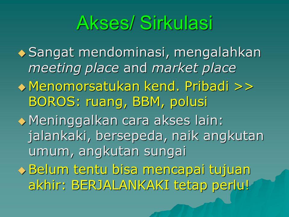 Akses/ Sirkulasi Sangat mendominasi, mengalahkan meeting place and market place. Menomorsatukan kend. Pribadi >> BOROS: ruang, BBM, polusi.