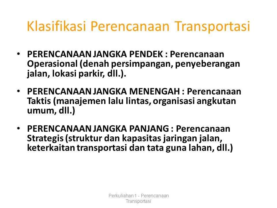 Klasifikasi Perencanaan Transportasi
