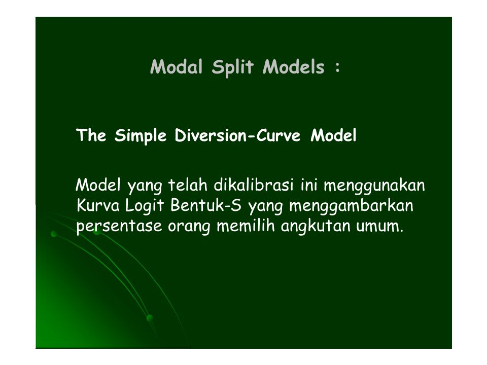 Modal Split Models : The Simple Diversion-Curve Model
