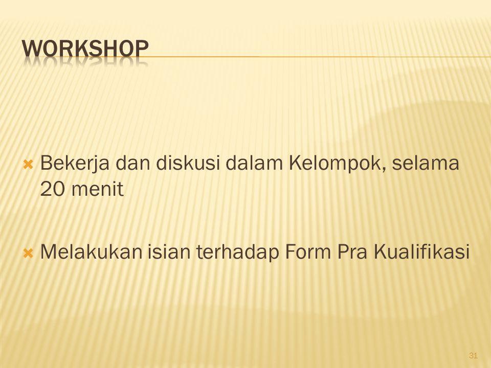 Workshop Bekerja dan diskusi dalam Kelompok, selama 20 menit