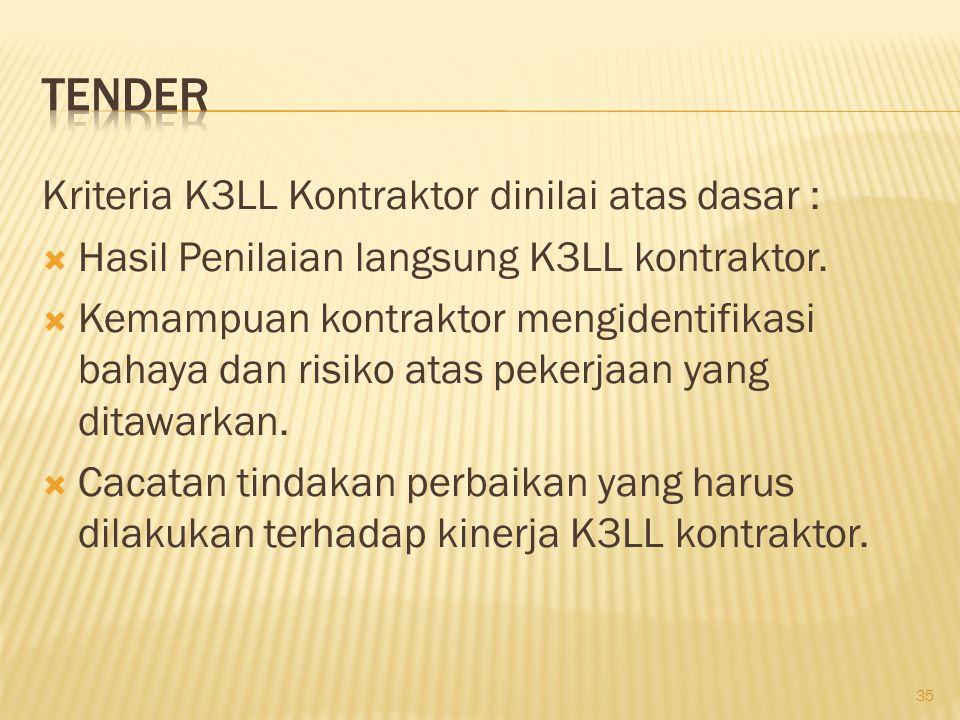Tender Kriteria K3LL Kontraktor dinilai atas dasar :