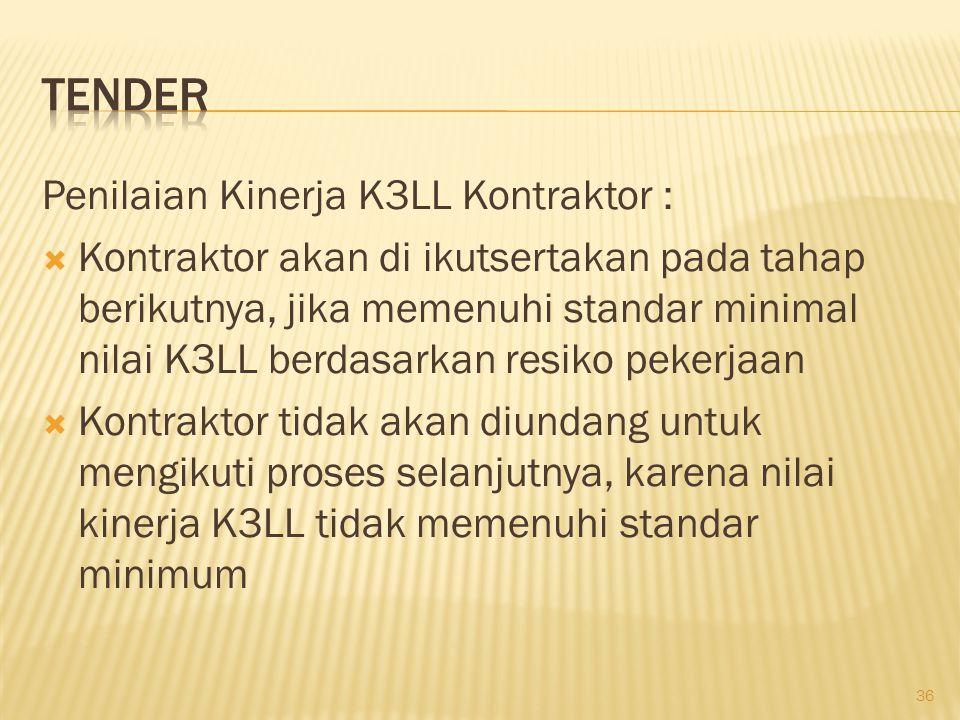 Tender Penilaian Kinerja K3LL Kontraktor :