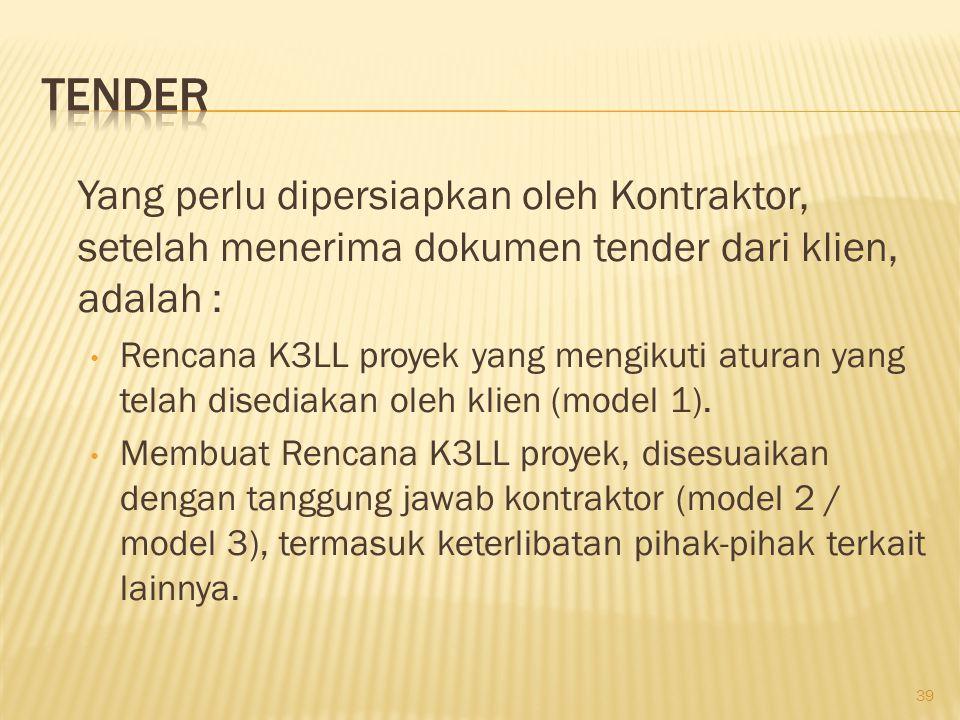 Tender Yang perlu dipersiapkan oleh Kontraktor, setelah menerima dokumen tender dari klien, adalah :