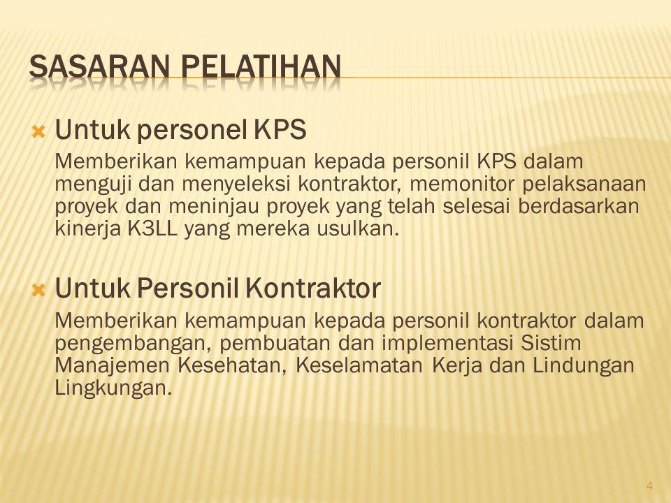 Sasaran Pelatihan Untuk personel KPS Untuk Personil Kontraktor