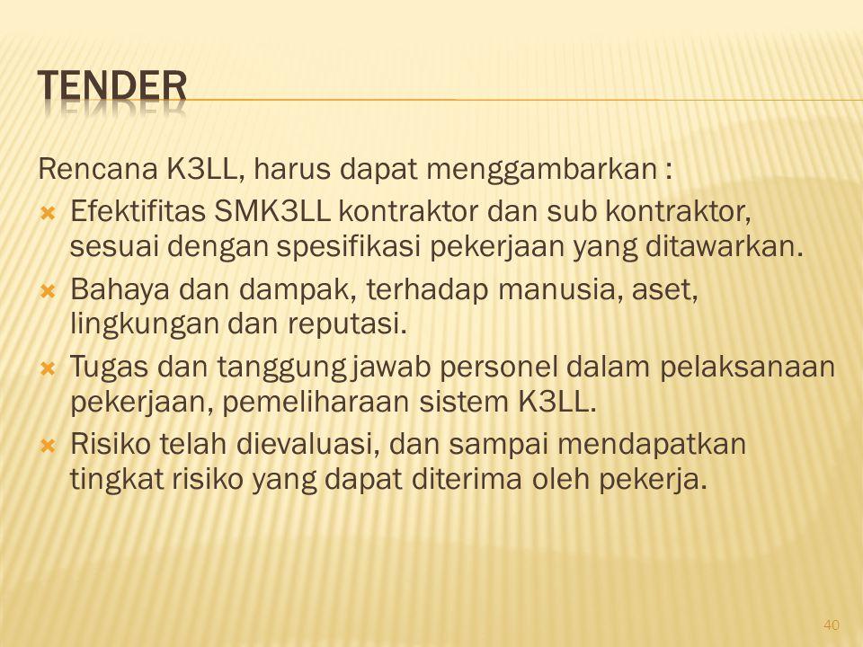 Tender Rencana K3LL, harus dapat menggambarkan :