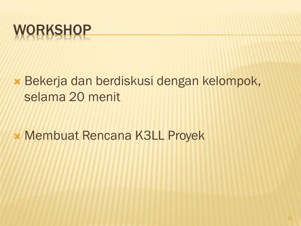Workshop Bekerja dan berdiskusi dengan kelompok, selama 20 menit