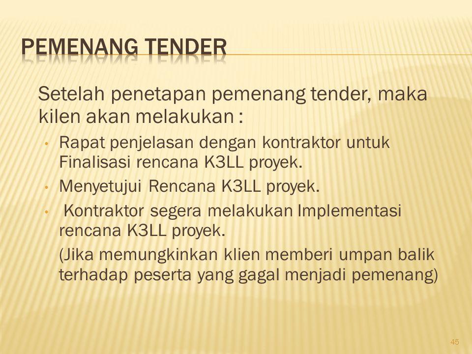 Pemenang Tender Setelah penetapan pemenang tender, maka kilen akan melakukan :