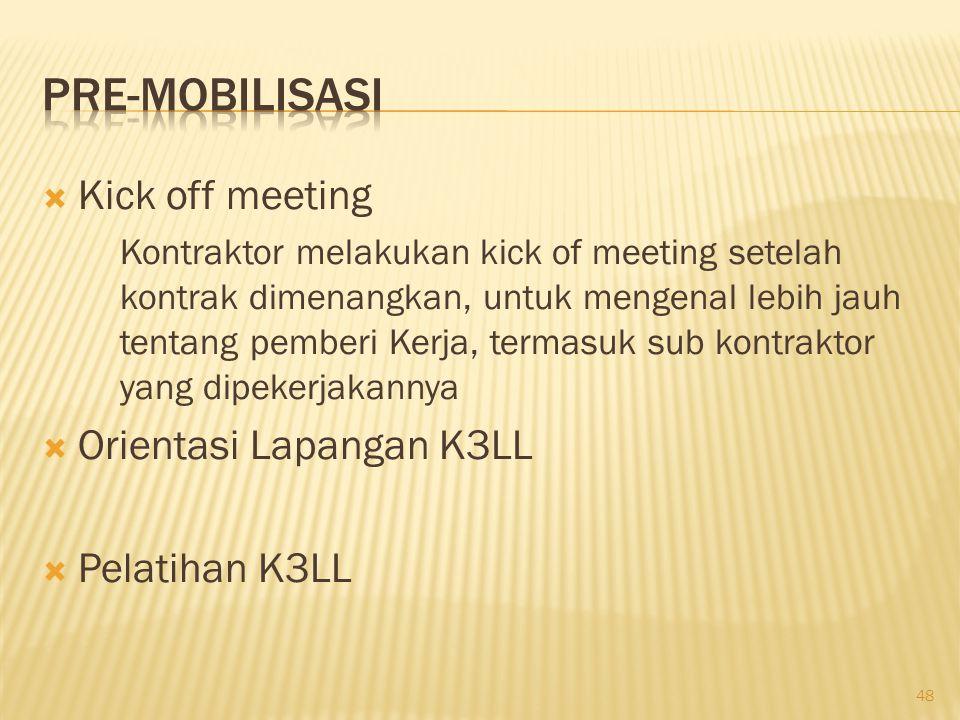 Pre-mobilisasi Kick off meeting Orientasi Lapangan K3LL Pelatihan K3LL