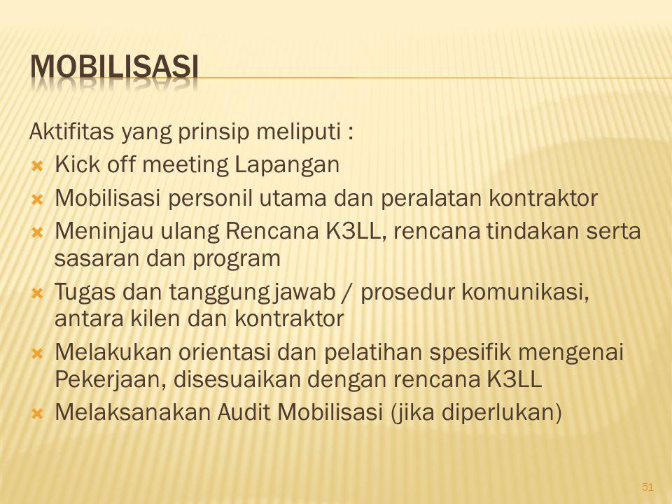 Mobilisasi Aktifitas yang prinsip meliputi : Kick off meeting Lapangan