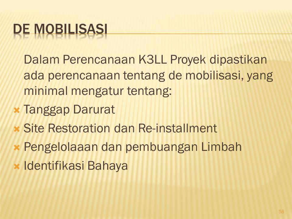 De Mobilisasi Dalam Perencanaan K3LL Proyek dipastikan ada perencanaan tentang de mobilisasi, yang minimal mengatur tentang: