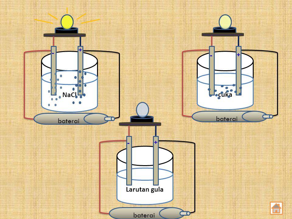 baterai baterai + - - + NaCl cuka baterai - + Larutan gula