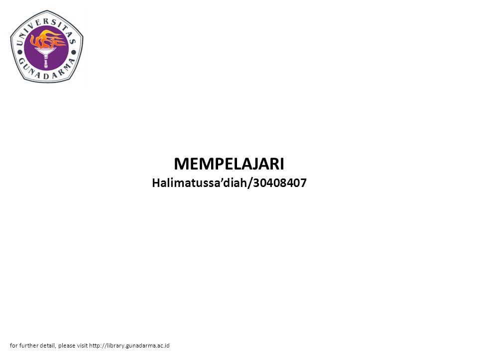 MEMPELAJARI Halimatussa'diah/30408407