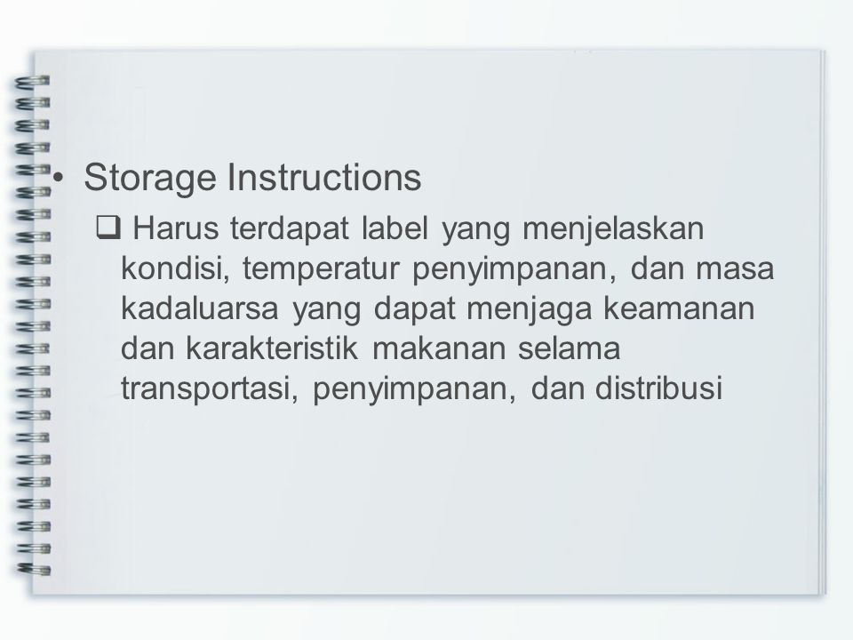 Storage Instructions