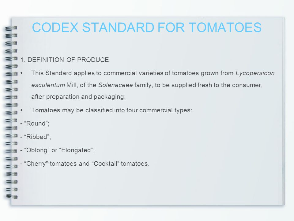 CODEX STANDARD FOR TOMATOES