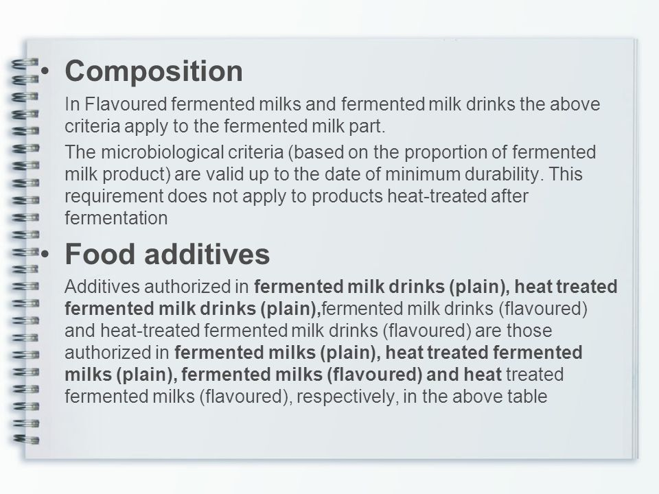 Composition Food additives
