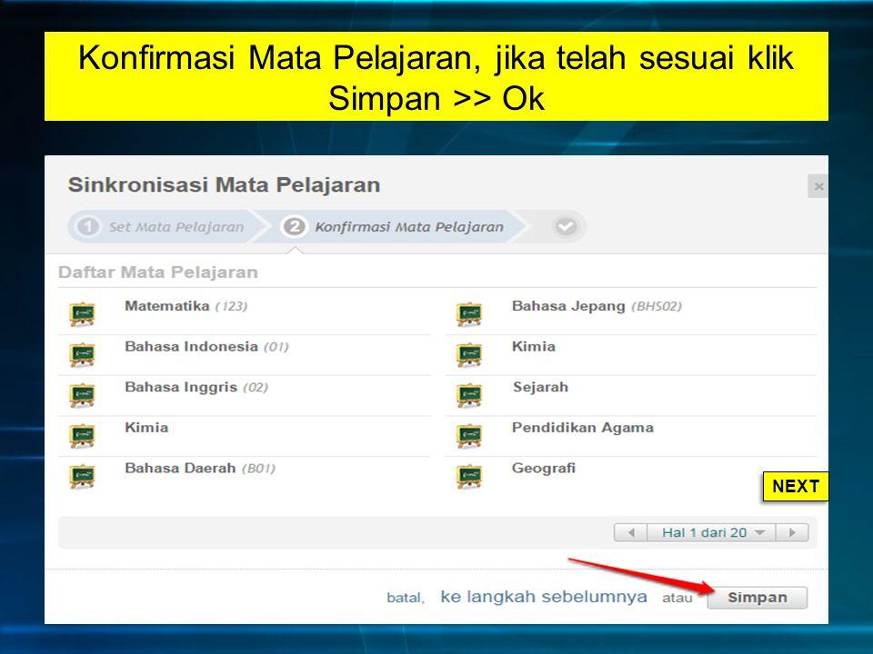 Konfirmasi Mata Pelajaran, jika telah sesuai klik Simpan >> Ok