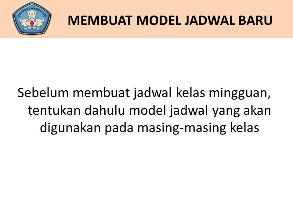 MEMBUAT MODEL JADWAL BARU