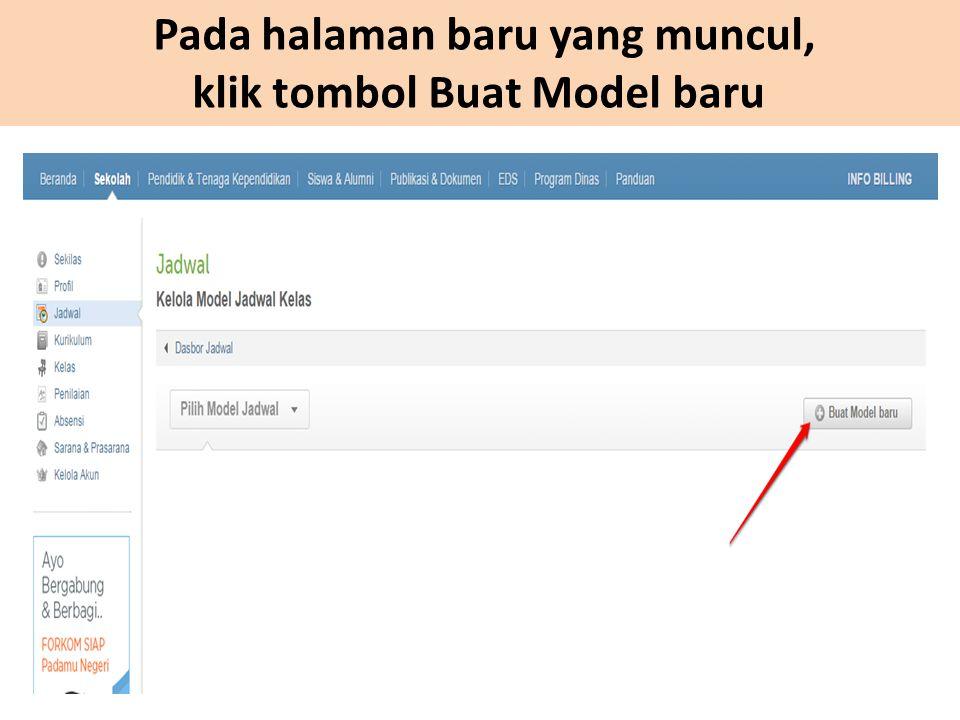Pada halaman baru yang muncul, klik tombol Buat Model baru