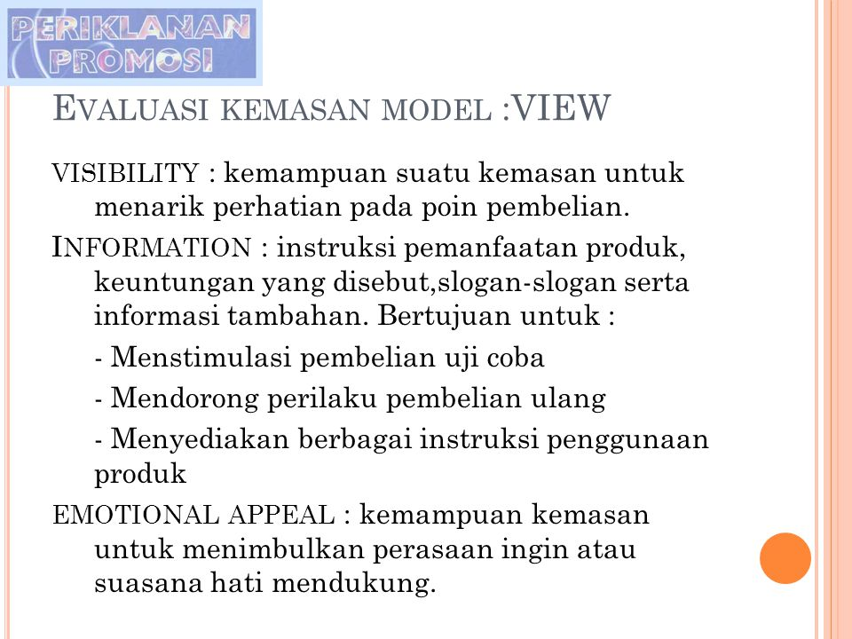 Evaluasi kemasan model :VIEW