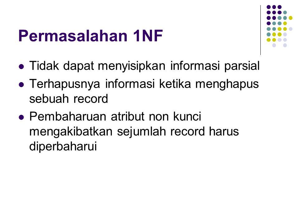 Permasalahan 1NF Tidak dapat menyisipkan informasi parsial