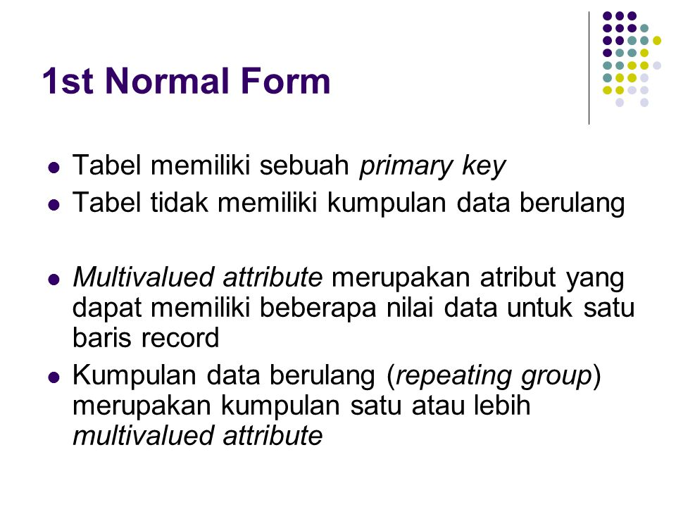 1st Normal Form Tabel memiliki sebuah primary key