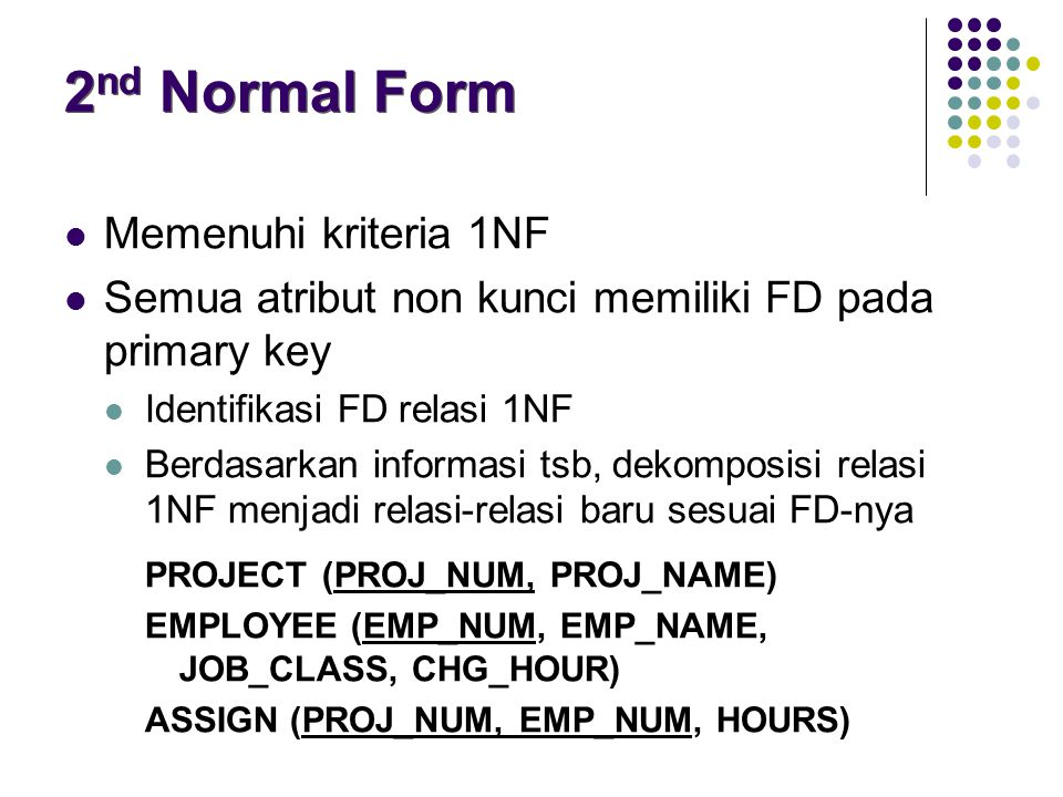 2nd Normal Form Memenuhi kriteria 1NF
