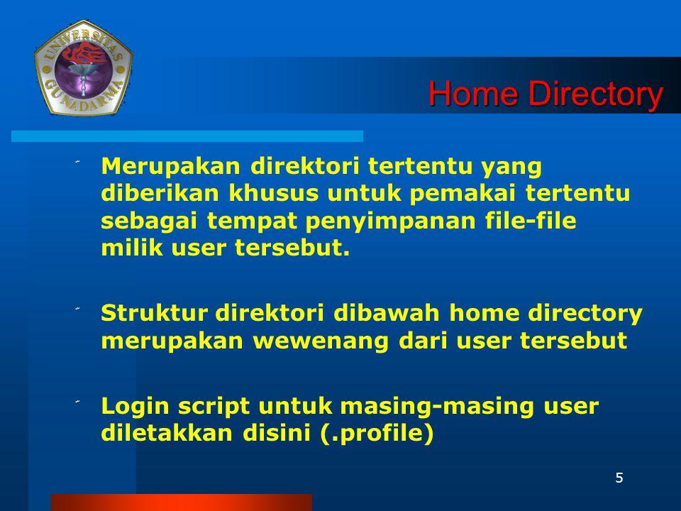 Home Directory Merupakan direktori tertentu yang diberikan khusus untuk pemakai tertentu sebagai tempat penyimpanan file-file milik user tersebut.