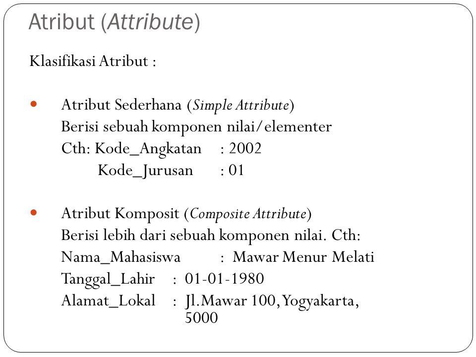 Atribut (Attribute) Klasifikasi Atribut :