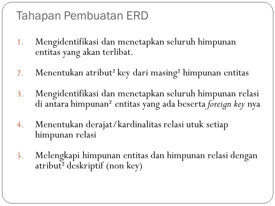 Tahapan Pembuatan ERD Mengidentifikasi dan menetapkan seluruh himpunan entitas yang akan terlibat.