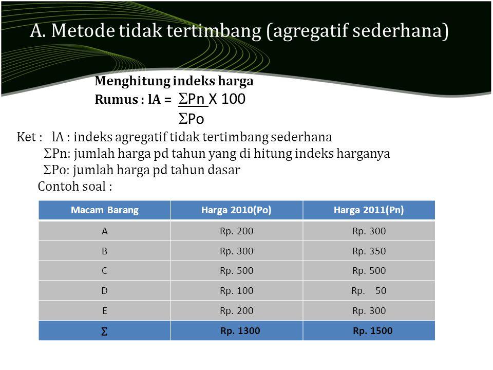 A. Metode tidak tertimbang (agregatif sederhana)
