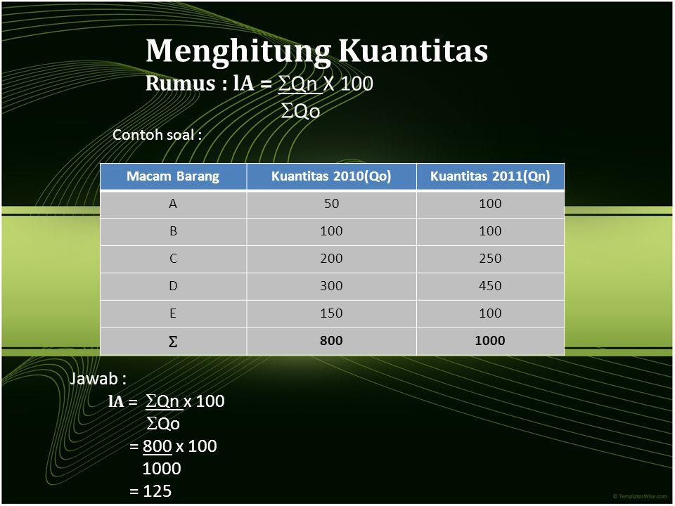 Menghitung Kuantitas Rumus : lA = Qn X 100 Qo