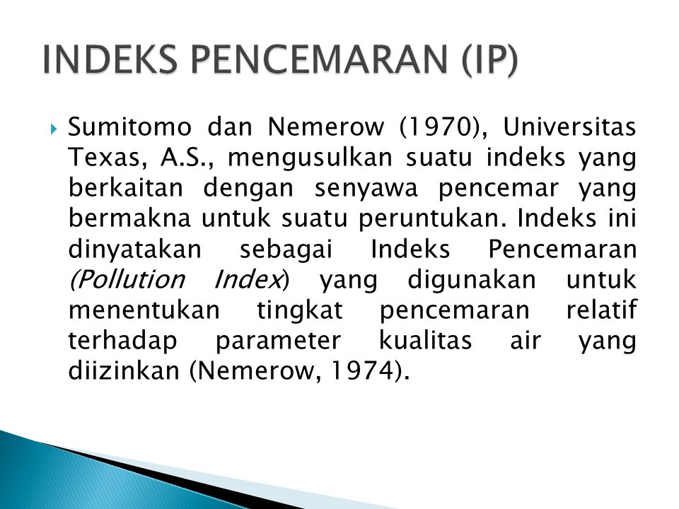 INDEKS PENCEMARAN (IP)
