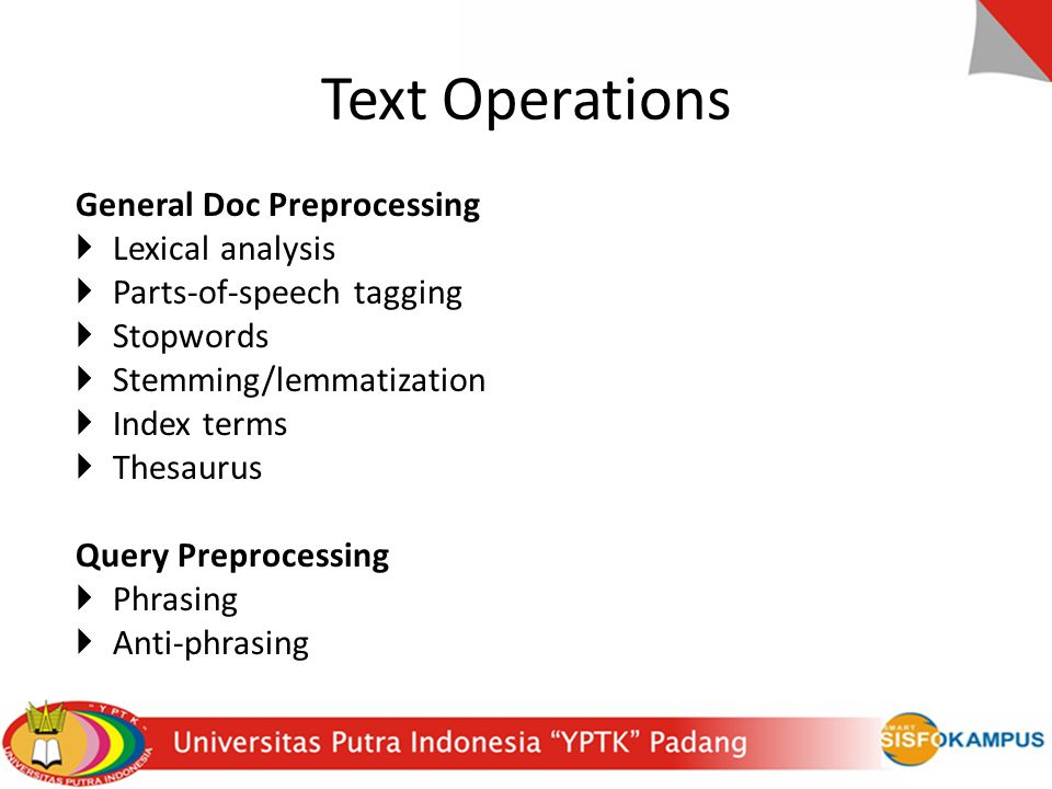 Text Operations General Doc Preprocessing Lexical analysis