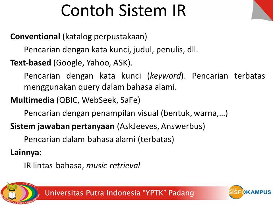 Contoh Sistem IR Conventional (katalog perpustakaan)