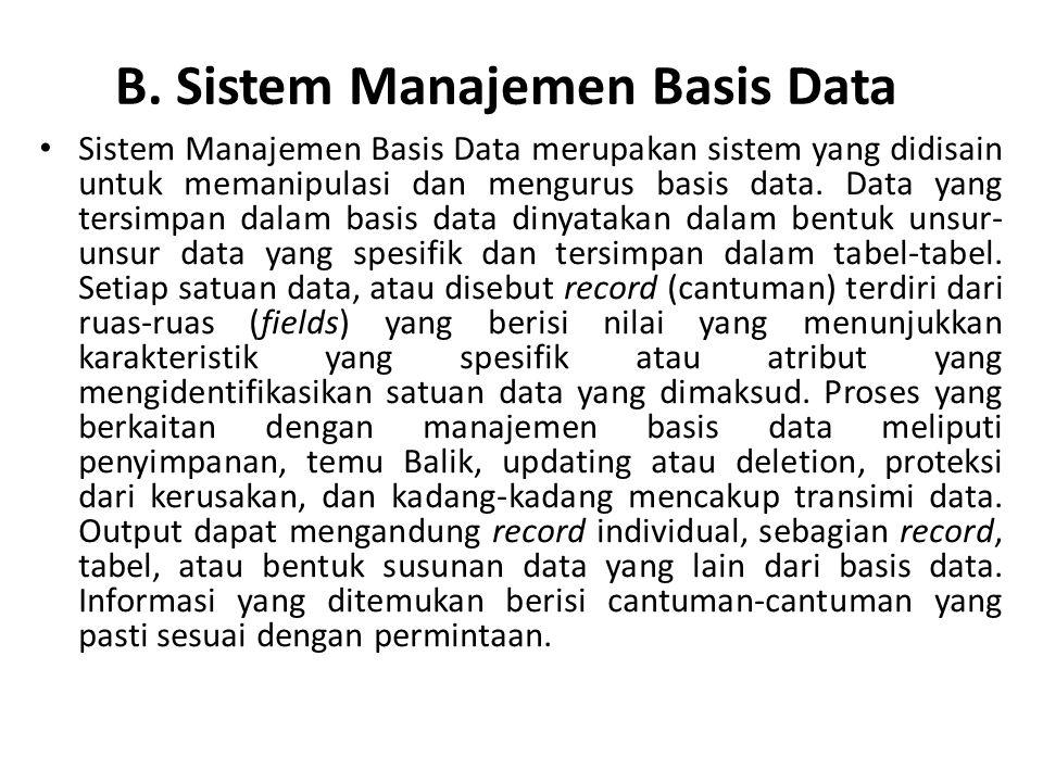 B. Sistem Manajemen Basis Data
