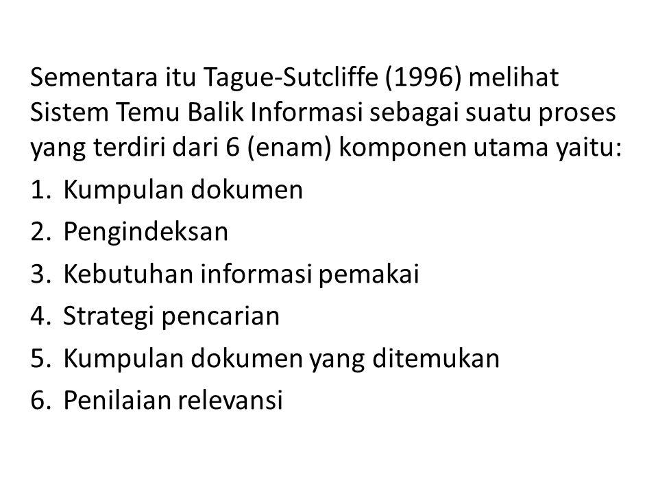 Kebutuhan informasi pemakai Strategi pencarian