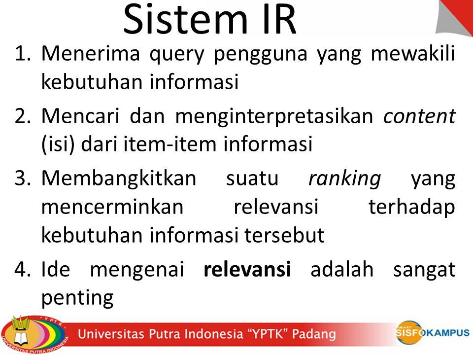 Sistem IR Menerima query pengguna yang mewakili kebutuhan informasi