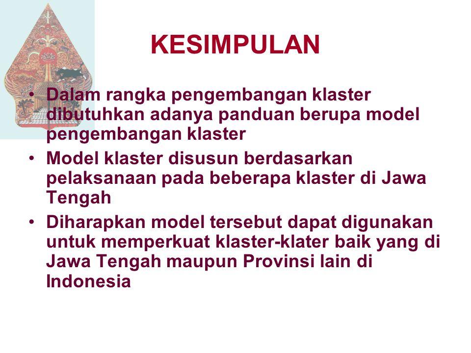 KESIMPULAN Dalam rangka pengembangan klaster dibutuhkan adanya panduan berupa model pengembangan klaster.