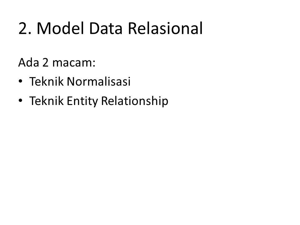 2. Model Data Relasional Ada 2 macam: Teknik Normalisasi