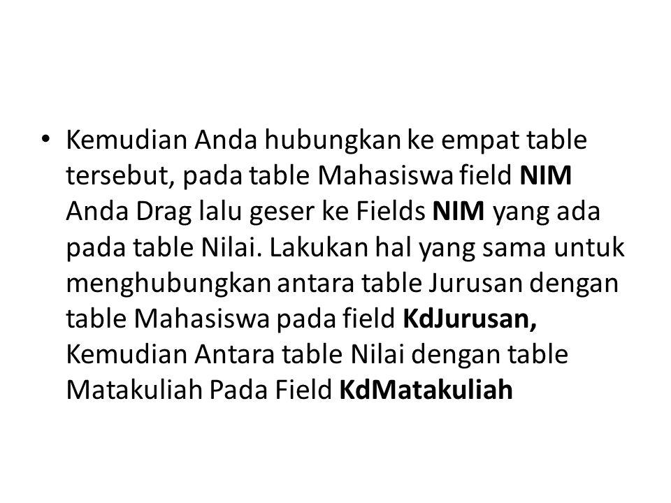 Kemudian Anda hubungkan ke empat table tersebut, pada table Mahasiswa field NIM Anda Drag lalu geser ke Fields NIM yang ada pada table Nilai.