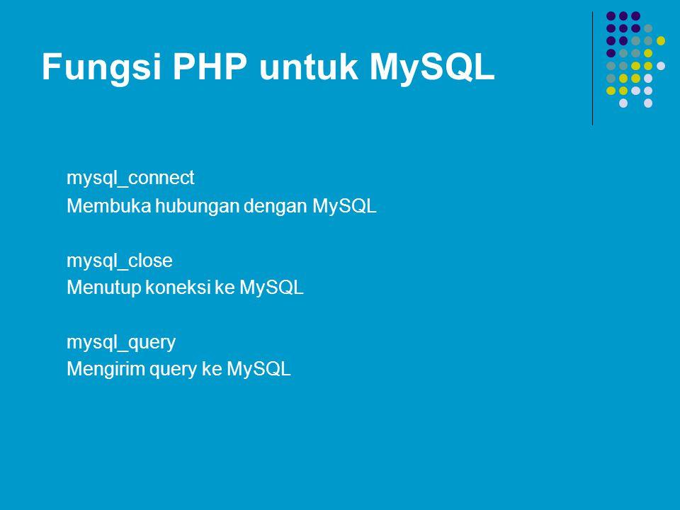 Fungsi PHP untuk MySQL mysql_connect Membuka hubungan dengan MySQL