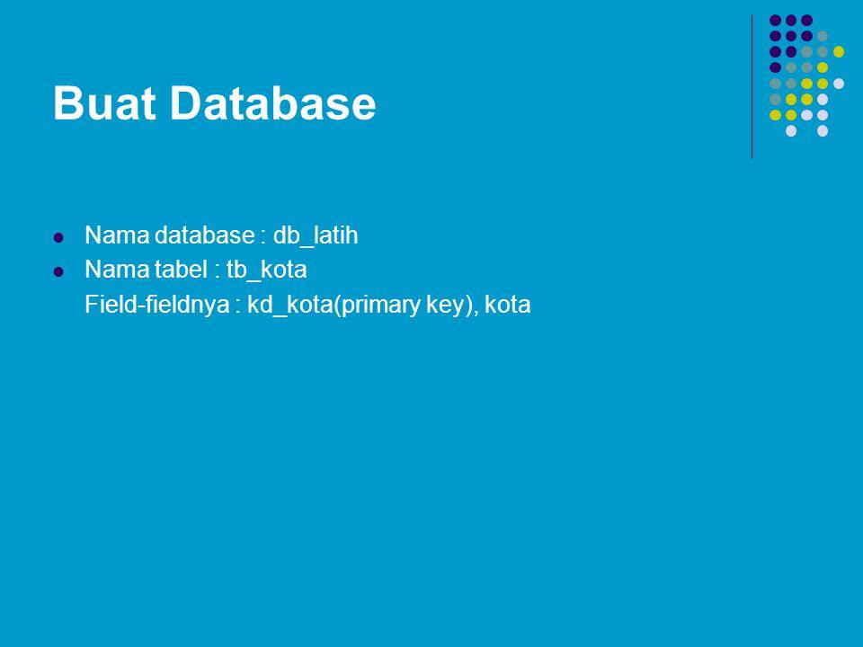 Buat Database Nama database : db_latih Nama tabel : tb_kota