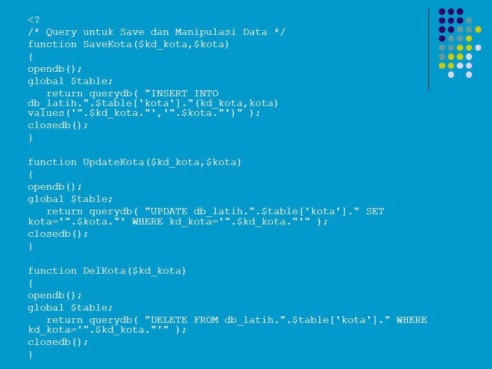 < /* Query untuk Save dan Manipulasi Data */ function SaveKota($kd_kota,$kota) { opendb(); global $table;