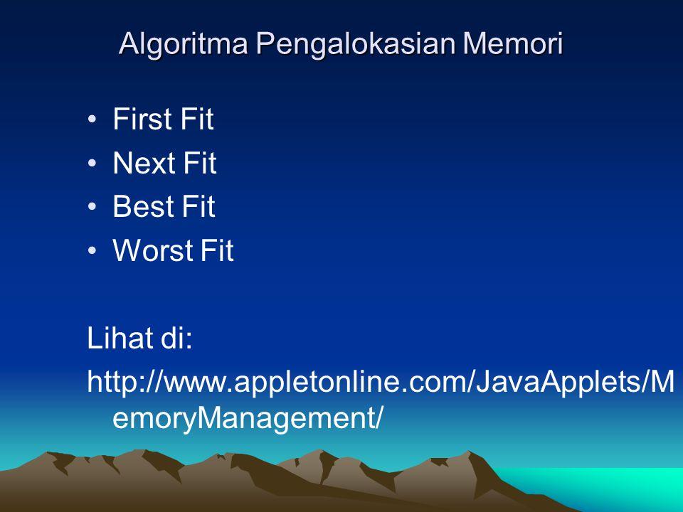 Algoritma Pengalokasian Memori