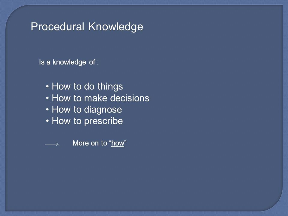 Procedural Knowledge How to do things How to make decisions