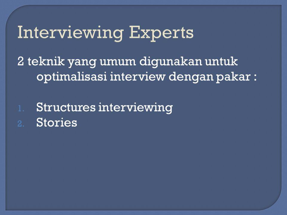 Interviewing Experts 2 teknik yang umum digunakan untuk optimalisasi interview dengan pakar : Structures interviewing.