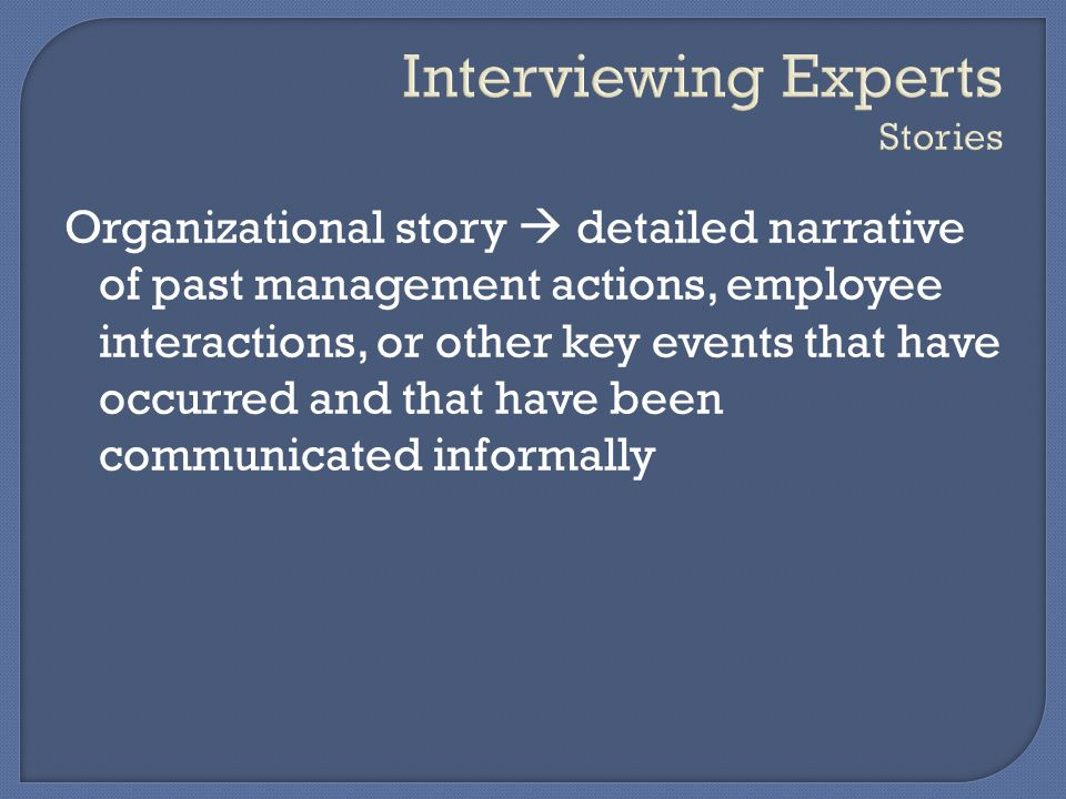 Interviewing Experts Stories
